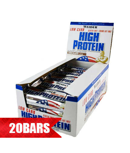 WEIDER Low Carb High Protein Bar 20 x 100g.