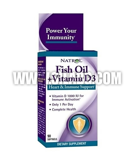 NATROL Fish Oil & Vitamin D3 / 90 Softgels