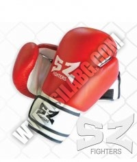 SZ FIGHTERS Boxing Gloves /Leather - White-Red/