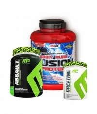 PROMO STACK MusclePharm Assault /NEW/ 800g. + MusclePharm Creatine 300g. + Amix Whey Pure Fusion 2kg.