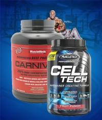 PROMO STACK MuscleTech CellTech 3 Lbs. / MuscleMeds Carnivor 4 Lbs.