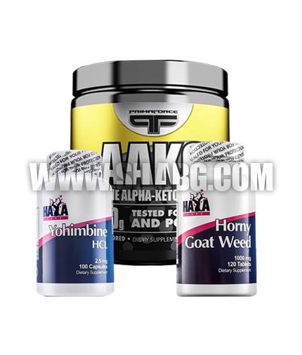PROMO STACK Haya Labs Yohimbine HCL + HAYA Horny Goat Weed + Primaforce AAKG