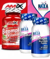 PROMO STACK Haya Labs Hyaluronic Acid / HAYA Collagen / Amix B-Complex +Vitamin C&E