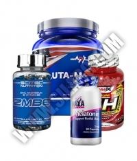 PROMO STACK Haya Labs Melatonin 3mg / Scitec ZMB6 / Amix GH-Strimulant / MEX Gluta-Max