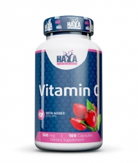 HAYA LABS Vitamin C with Rose Hips 500mg / 100 Caps.