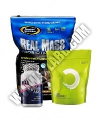 PROMO STACK Gaspari Real Mass Probiotic / Haya Labs Arginine AKG / Bulk Powders Complete Pre-Workout
