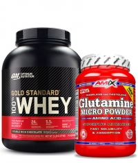 PROMO STACK ON 100% Whey Gold Standard 5 Lbs. / Amix Glutamine Powder