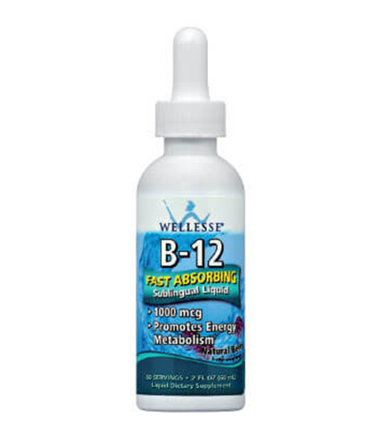 WELLESSE Vitamin B-12 Sublingual Liquid 1000mcg / 60serv.