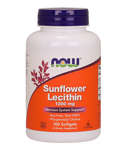 NOW Sunflower Lecithin /Non-GMO/ 1200mg. / 100 Softgels