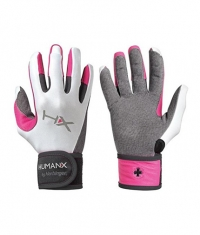 HARBINGER HUMANX Women's X3 Competition Full Finger WristWrap Gloves GREY / PINK