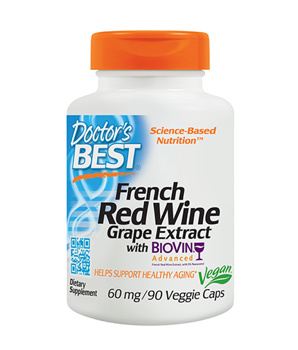 DOCTOR'S BEST French Red Wine Grape Extract / 90 Vcaps.