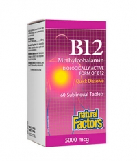 NATURAL FACTORS Vitamin B12 (Methylcobalamin) 5000mcg. / 60 Tabs.