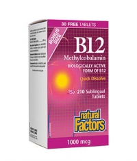 NATURAL FACTORS Vitamin B12 (Methylcobalamin) 1000mcg. / 180+30 Tabs.
