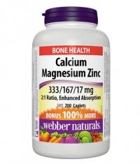 WEBBER NATURALS Calcium Magnesium Zinc 333/167/17mg / 200Caplets.