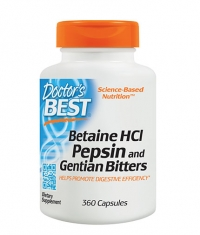 DOCTOR'S BEST Betaine HCL Pepsin and Gentian Bitters / 360 Caps.