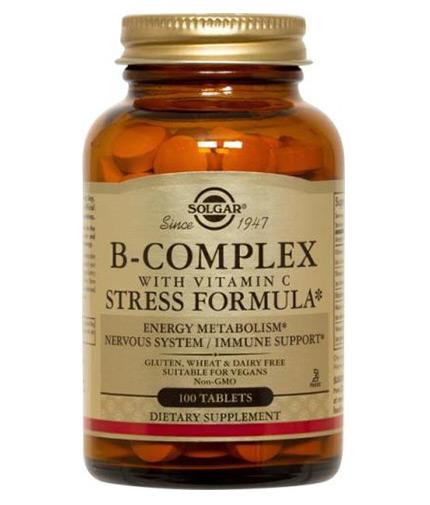SOLGAR B-Complex with Vitamin C Stress Formula / 100 Tabs