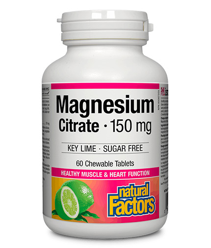 NATURAL FACTORS Magnesium Citrate 150mg / 60 Chew Tabs