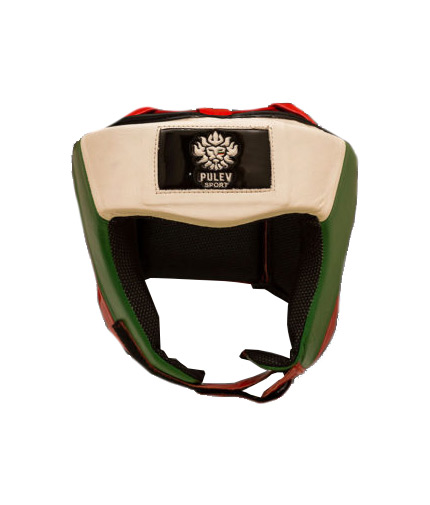 PULEV SPORT Head Guard Lion Logo White, Green, Red with Partial Coverage