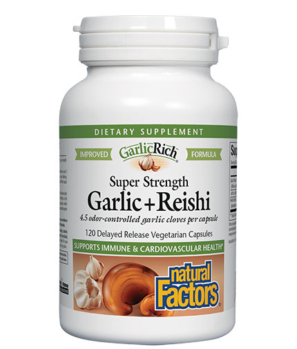 NATURAL FACTORS Super Strength Garlic + Reishi / 120 Vcaps