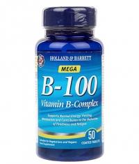 HOLLAND AND BARRETT Mega B-100 / Vitamin B-Complex / 50 Caps