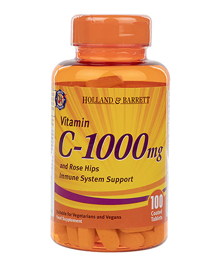 HOLLAND AND BARRETT Vitamin C 1000 mg / with Rose Hips & Bioflavonoids / 100 Caps