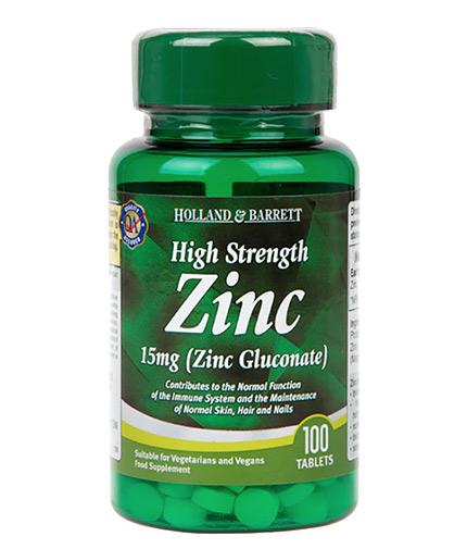 HOLLAND AND BARRETT Zinc Gluconate 15 mg / High Strength / 100 Tabs