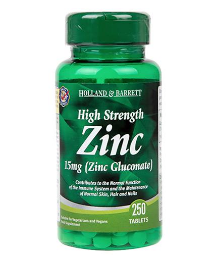HOLLAND AND BARRETT Zinc Gluconate 15 mg / High Strength / 250 Tabs