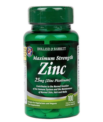 HOLLAND AND BARRETT Zinc Picolinate 25 mg / Maximum Strength / 100 Tabs