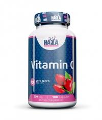 HAYA LABS Vitamin C with Rose Hips 500mg / 100 Caps.